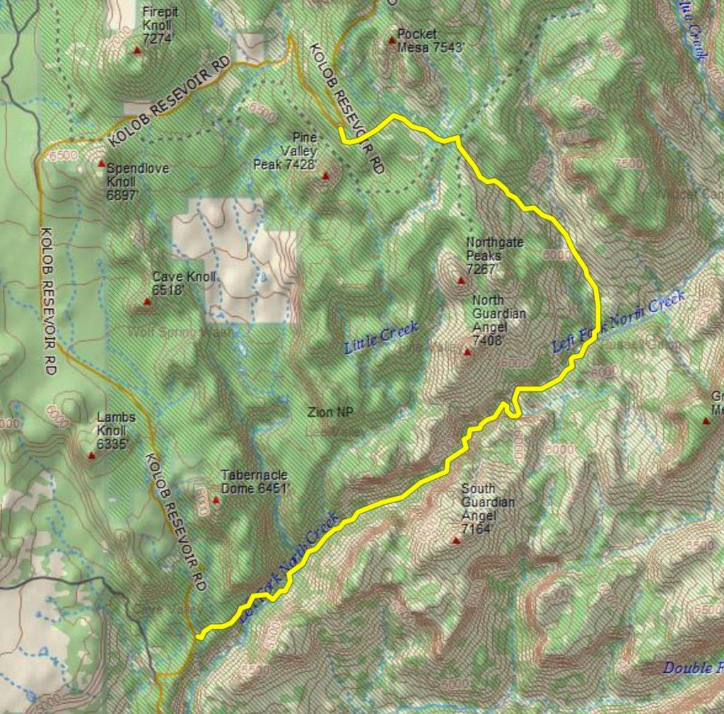 Zion Subway Tunnel Hike GPS Track