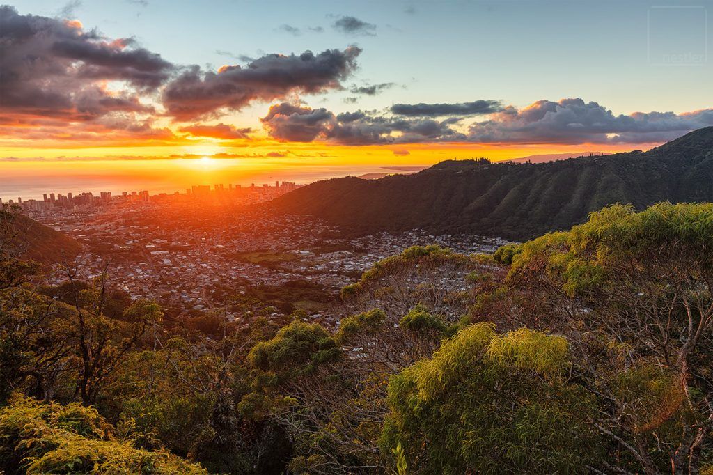 Mount Olympus Sunset over Honolulu Hawaii