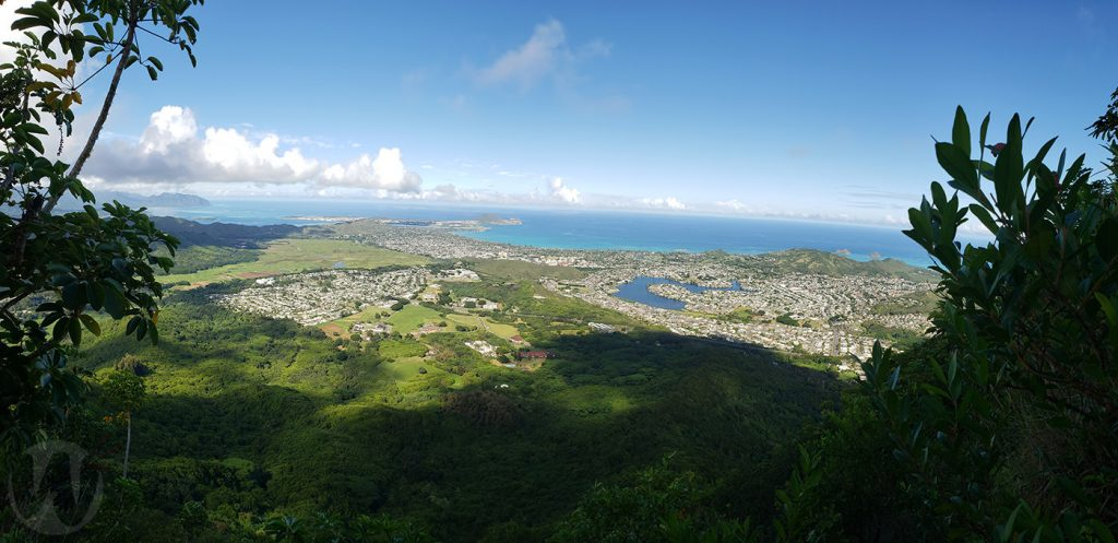 View from the summit of Olomana Peak