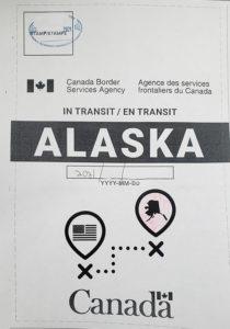 In transit to Alaska
